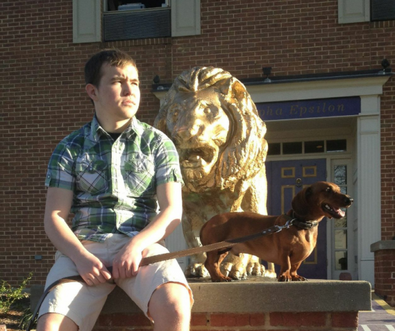 Just taking it all in with the frat hound.