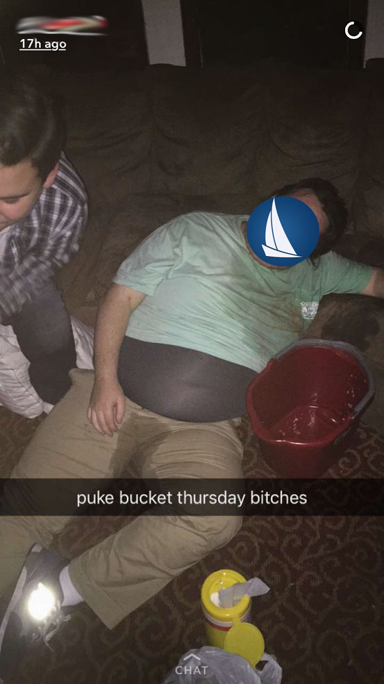 Didnt know puke bucket Thursdays were a thing.