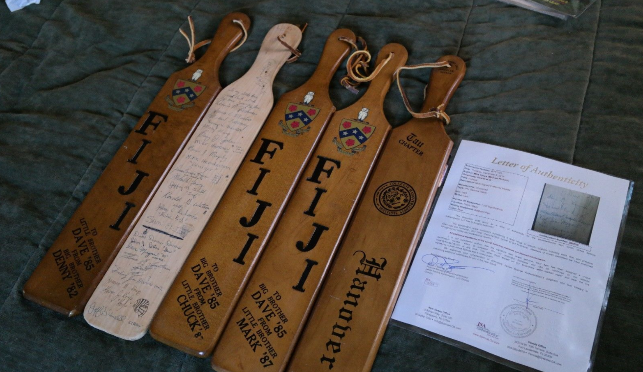 mike pence signed pledge class fraternity paddle