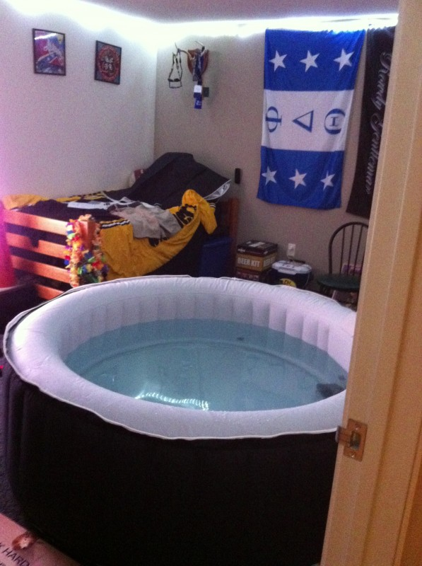hot tub fraternity house bedroom