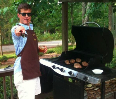 manning the grill